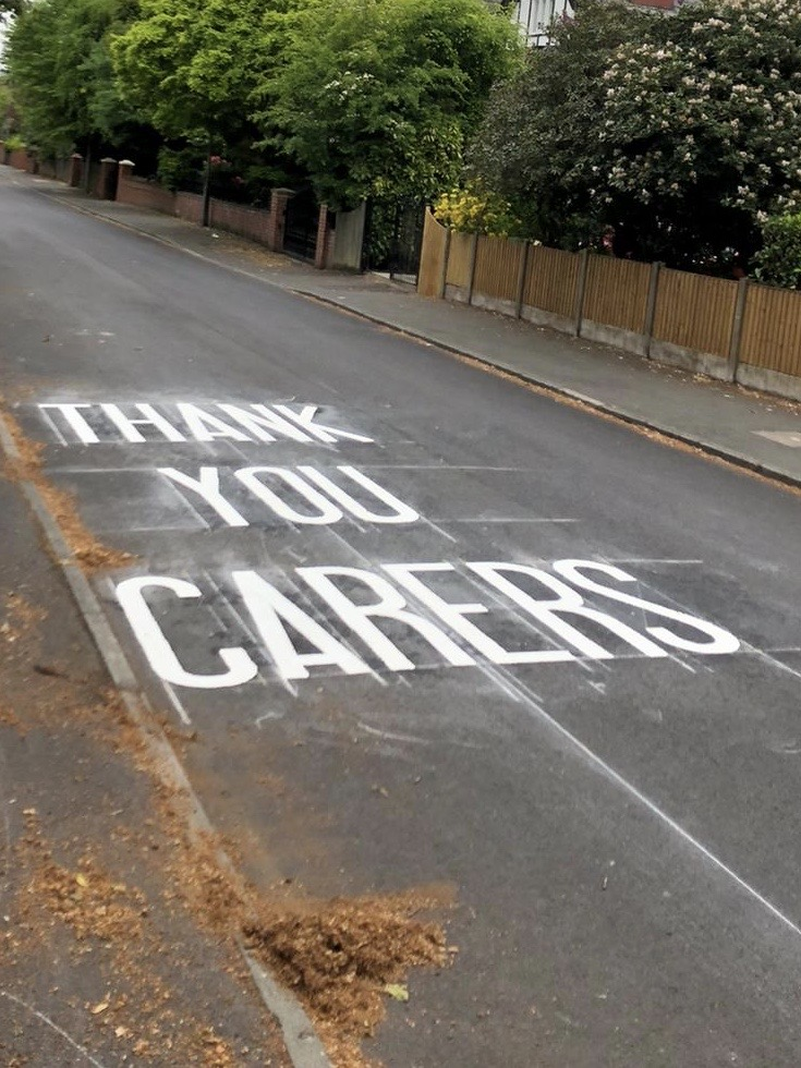 'Thank-you carers' messages painted outside care homes